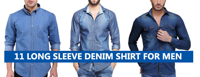 long sleeve denim shirt for men