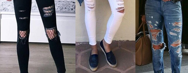 RIPPED STYLE DENIM WOMEN JEANS