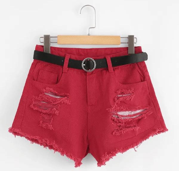 maroon denim shorts women