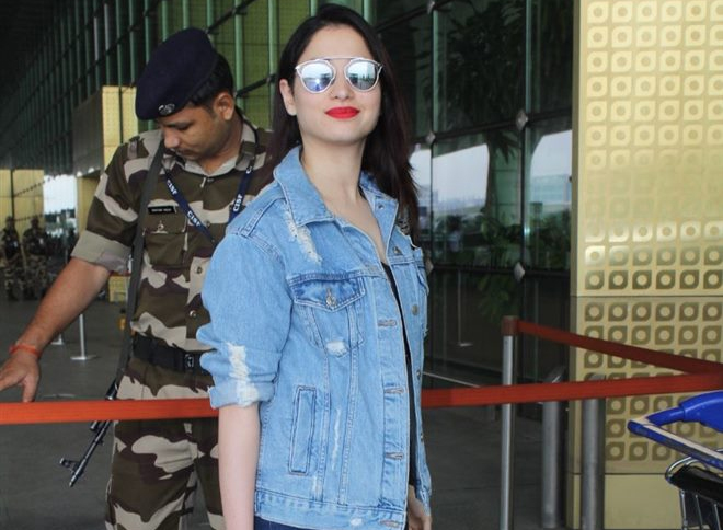 tamannaah bhatia denim jacket spotted airport