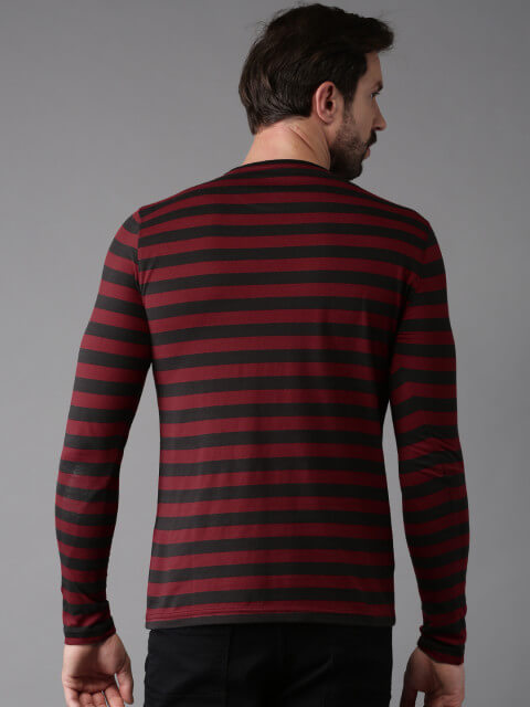 HERENOW Men Maroon Striped Round Neck T shirt denimxp