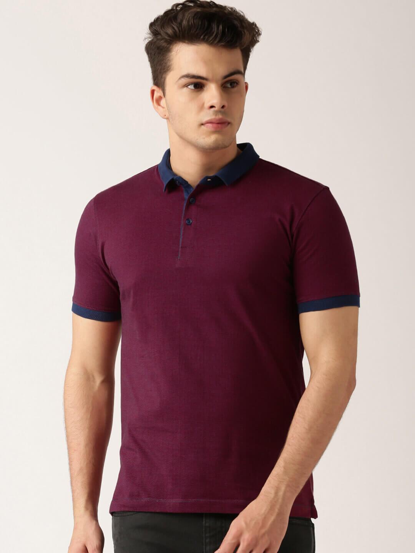Maroon Navy Striped Polo T shirt Denimxp
