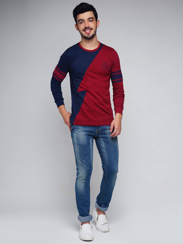 Men Maroon Navy Colour blocked Round Neck T shirt DenimXP