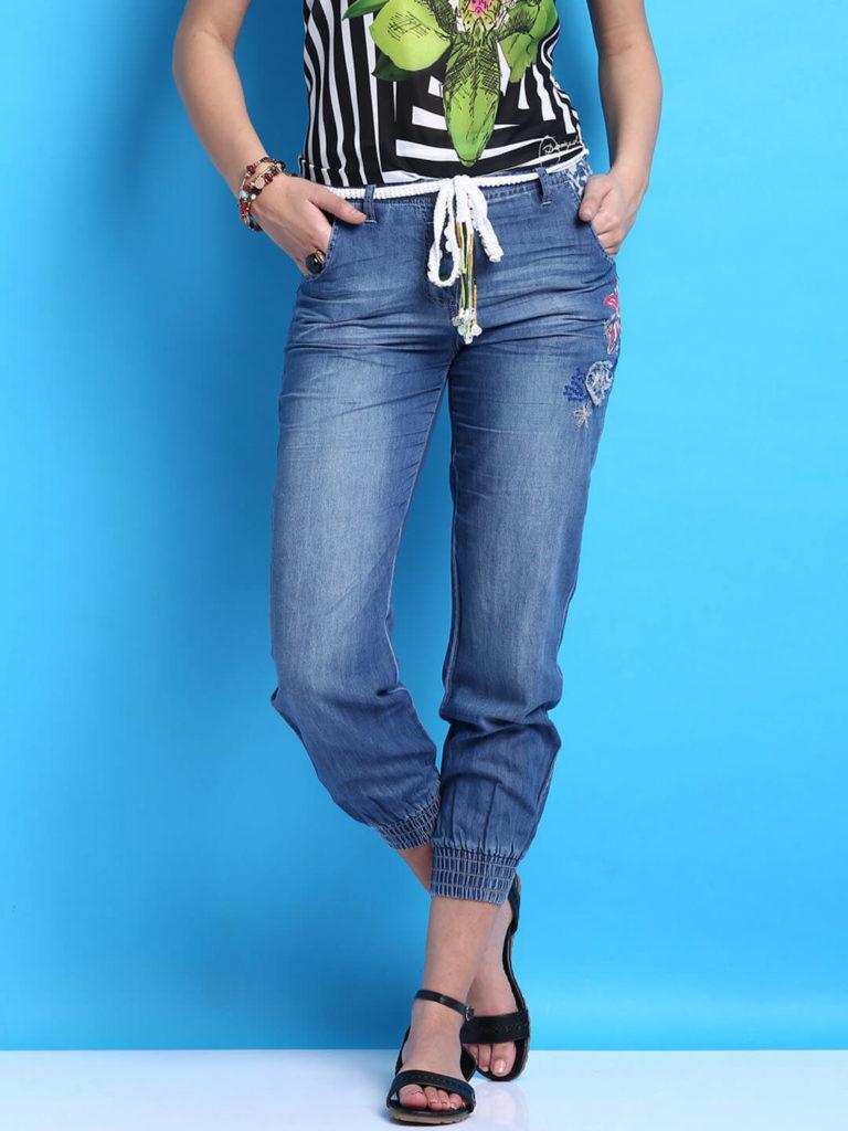Desigual Blue Trousers Denim Joggers Women India