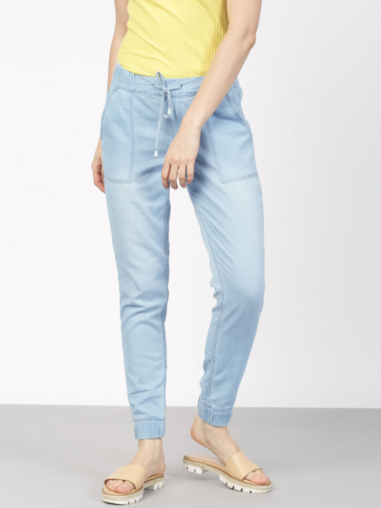 Ether Women Blue Regular Fit Solid Denim Women Joggers India