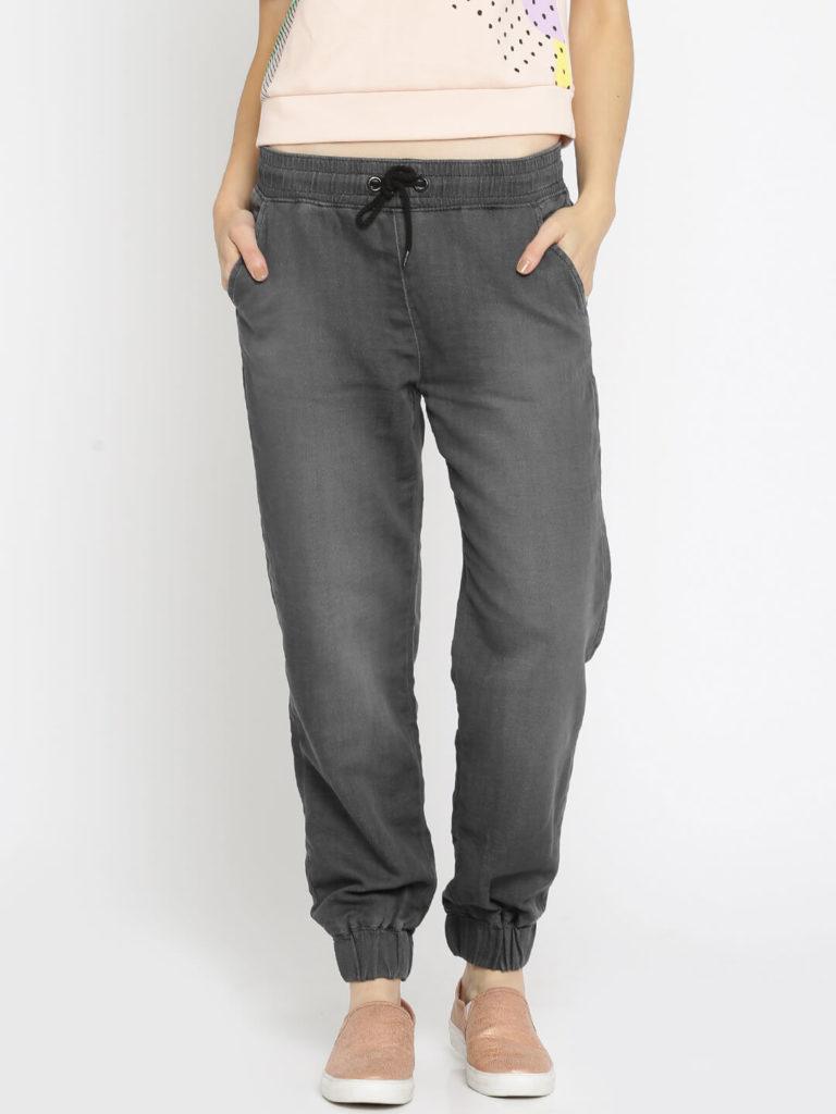 Vero Moda Women Grey Flared Mid Rise Clean Look Denim Women Joggers Jeans India