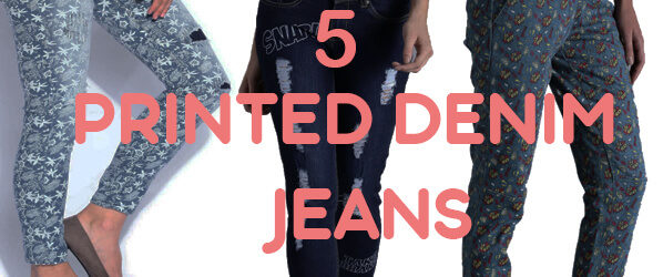 printed denim jeans with tops buy in online india
