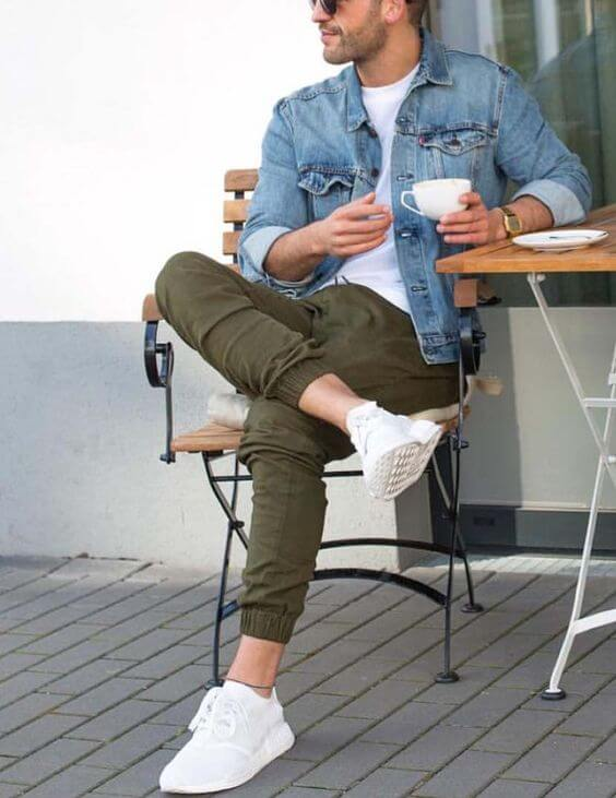Denim Jacket Army Green Jeans with white sneakers