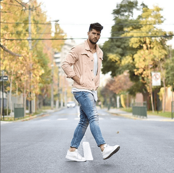 White Sneakers with jacket and jeans