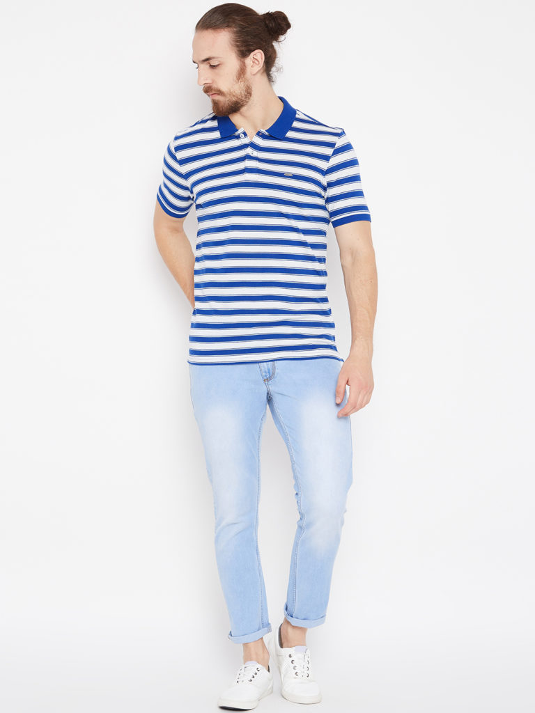 Blue White Strips design polo tshirt with light blue jeans outfits for mens