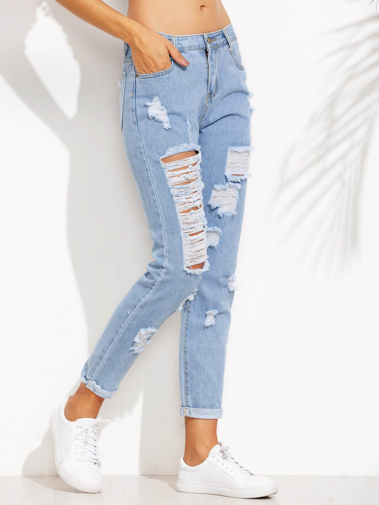 Extreme Distressed Roll Hem Jeans Clearance Offer