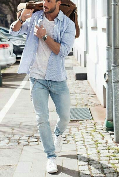 Light Blue Shirt and grey tshirt with light blue jeans outfits for mens