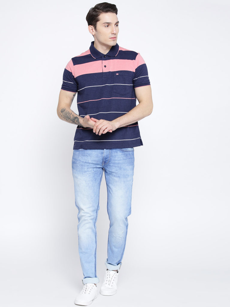 Navy Blue Collar Tshirt with light blue jeans outfits for mens