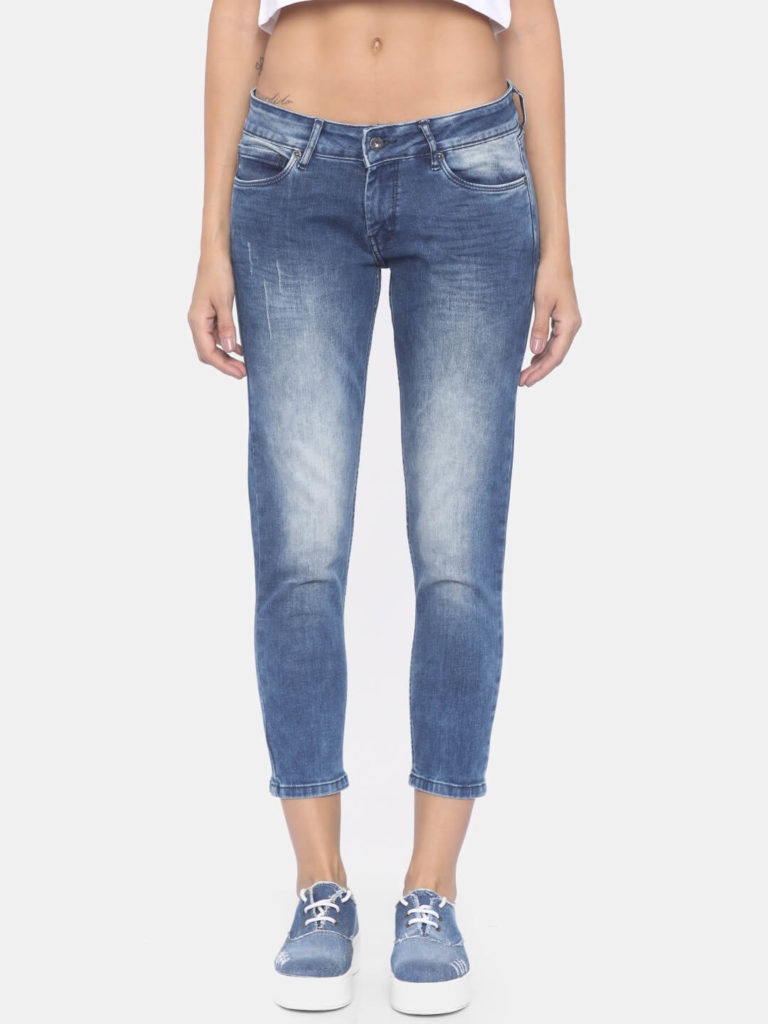 Pepe Jeans Women Blue Regular Fit Mid Rise Low Distress Stretchable Jeans