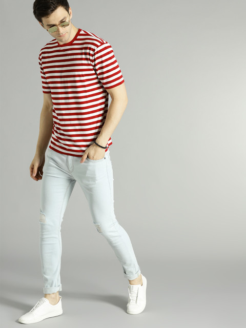 Red and white stripe tshirt with light blue jeans outfits for mens