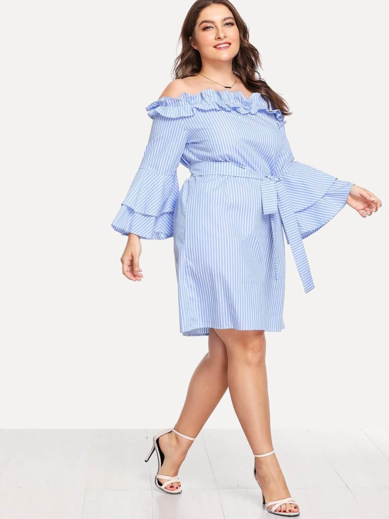 SHEIN Plus Layered Trumpet Sleeve Belted Ruffle Bardot Dress Offers