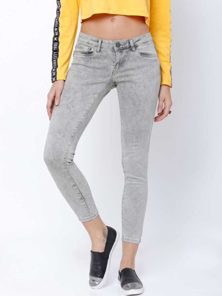 Tokyo Talkies Women Grey Super Skinny Fit Mid Rise Clean Look Jeans