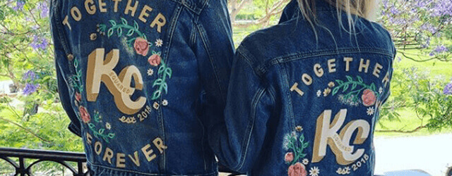 Kaley Cuoco and Karl Cook Couple Denim Jacket Wearing On Wedding Day