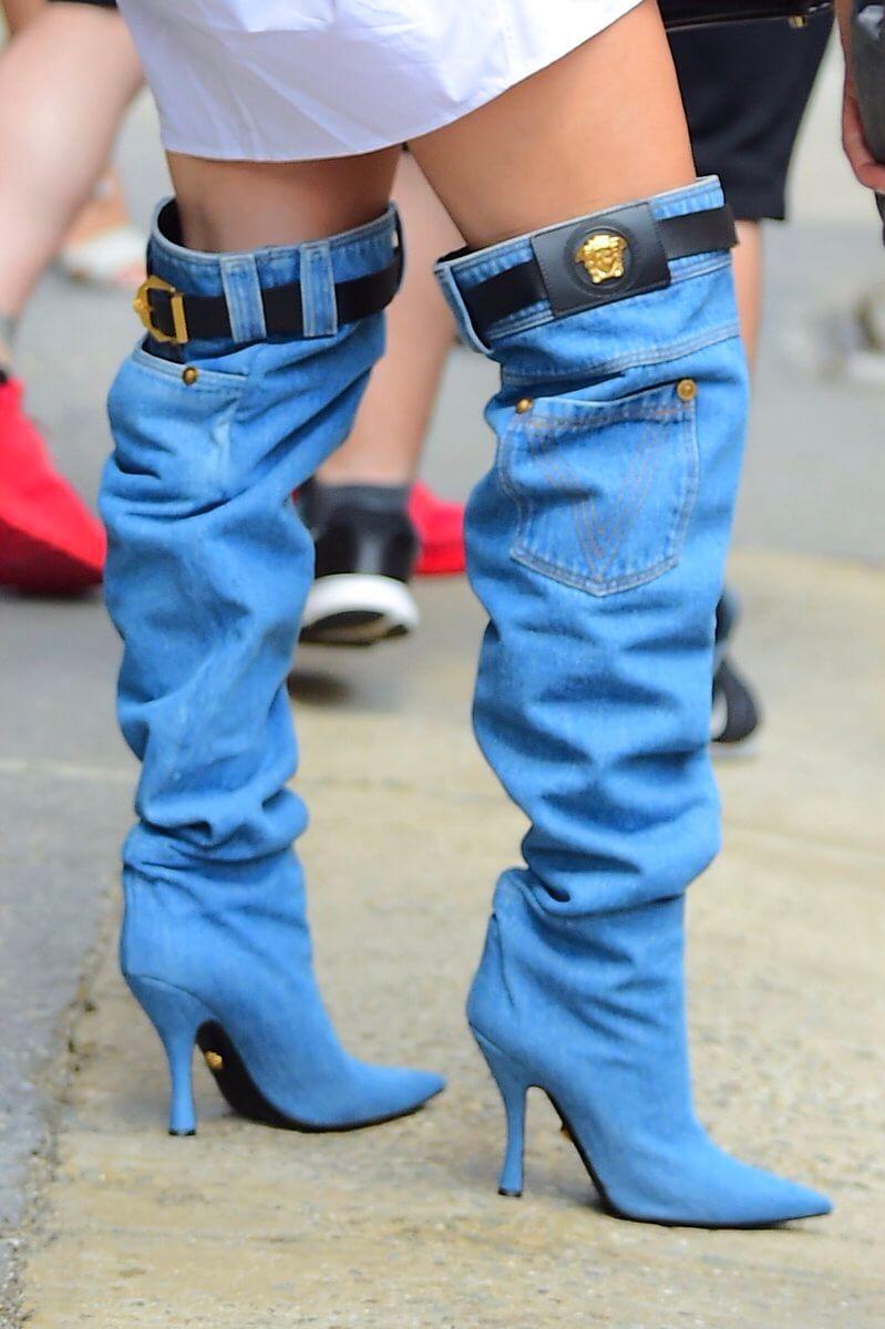 Jennifer lopez versace denim boots style