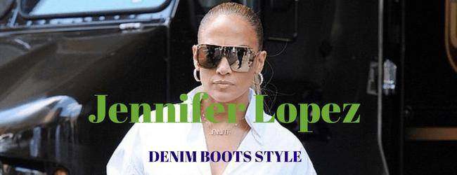 Jennifer Lopez Wear Versace Denim Boots on White Shirt