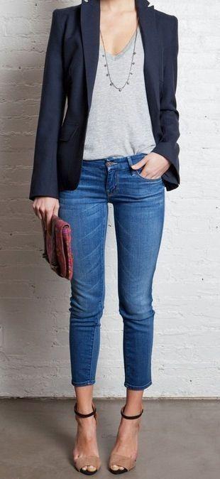 boyfriend denim jeans for formal outfit idea