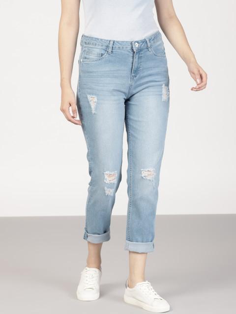 distressed boy friend jeans for women