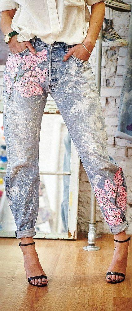 printed boyfriend denim jeans for women