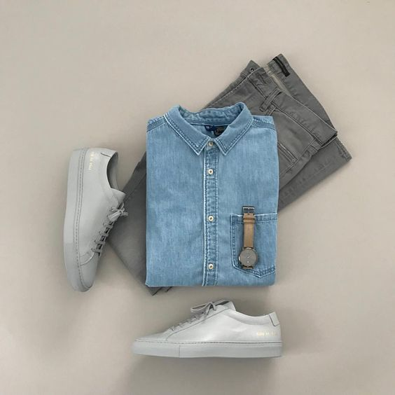 BLUE SHIRTS WITH GREY JEANS COMBINATION