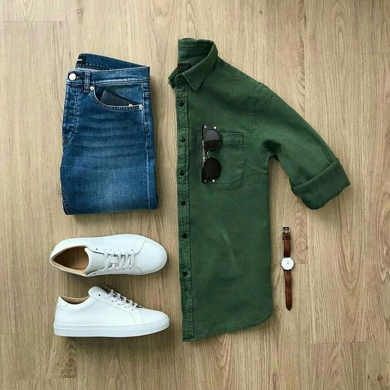 GREEN SHIRTS WITH BLUE JEANS COMBINATION