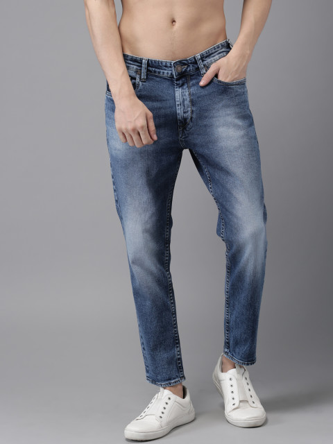 WASHED TAPERED MEN BLUE DENIM JEANS