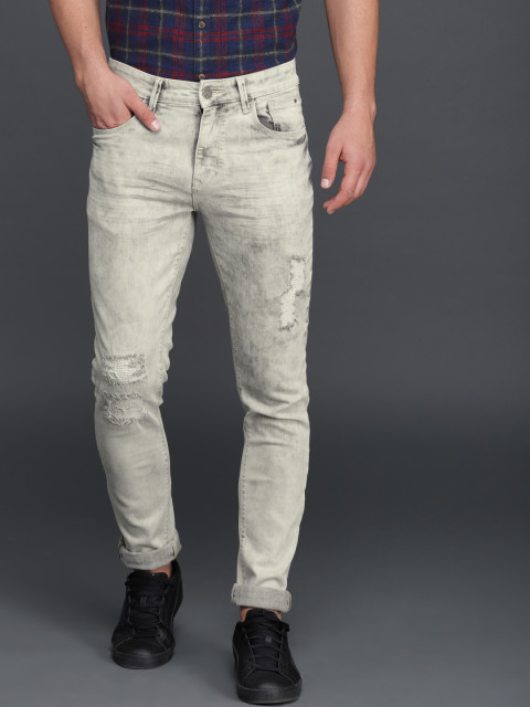 WROGN Men Grey Regular Fit Stretchable Mid Rise Mildly Distressed