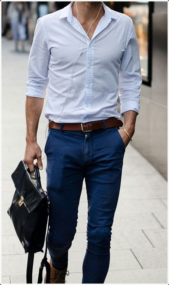 stylish white shirt combination for mens