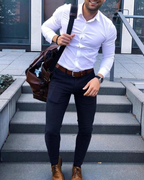 stylish white shirt and jeans combination for mens