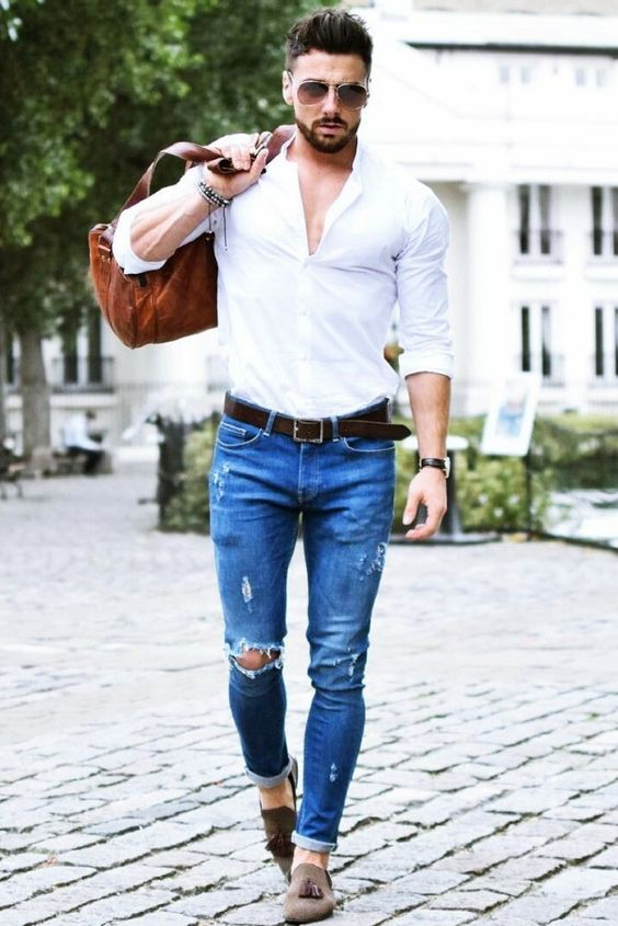 stylish white shirt combination for mens