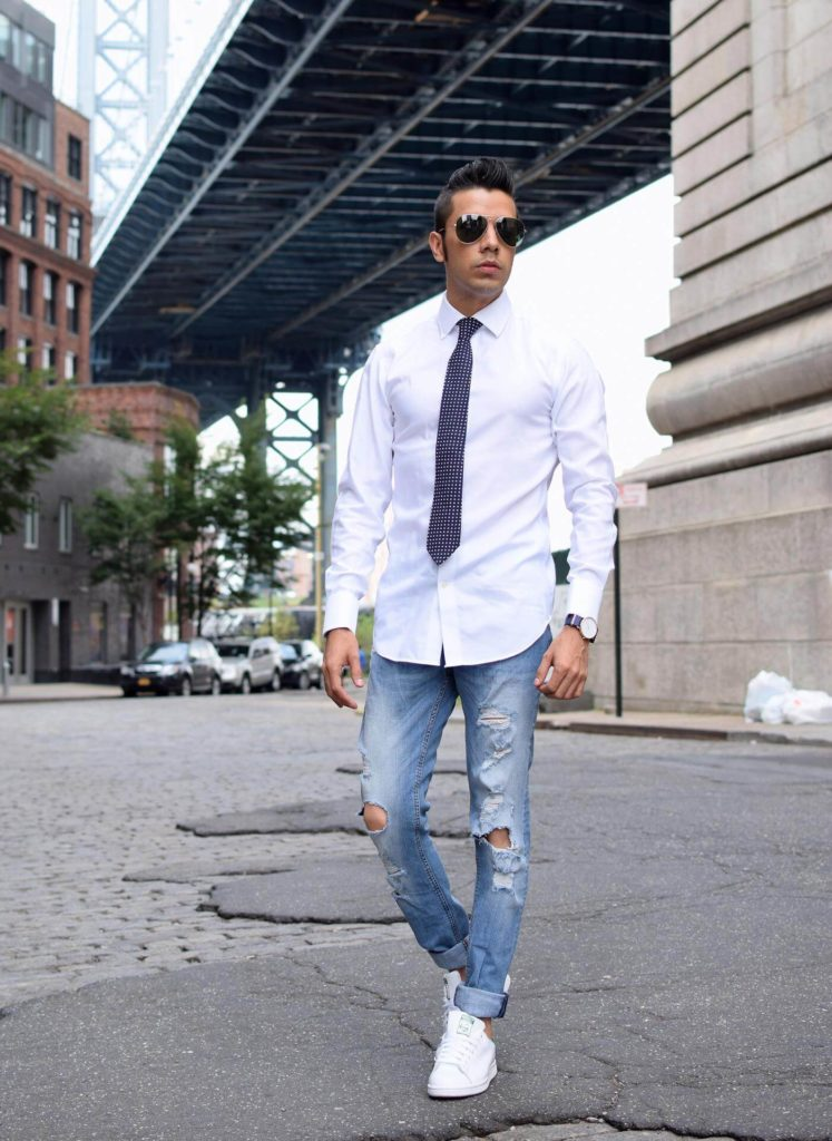 Distressed Denim Blue Jeans with White Shirt Tie Combination men photoshoot poses white shirt combination