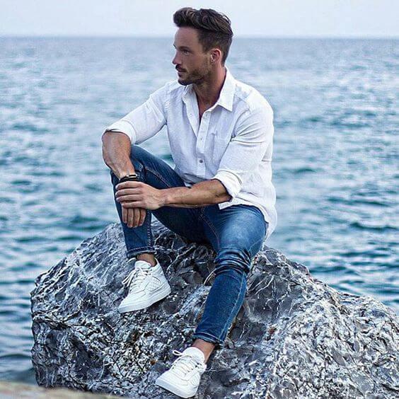 men photoshoot poses white shirt combination