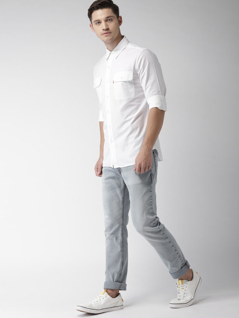 Double Pocket White Shirt Design men photoshoot poses white shirt combination