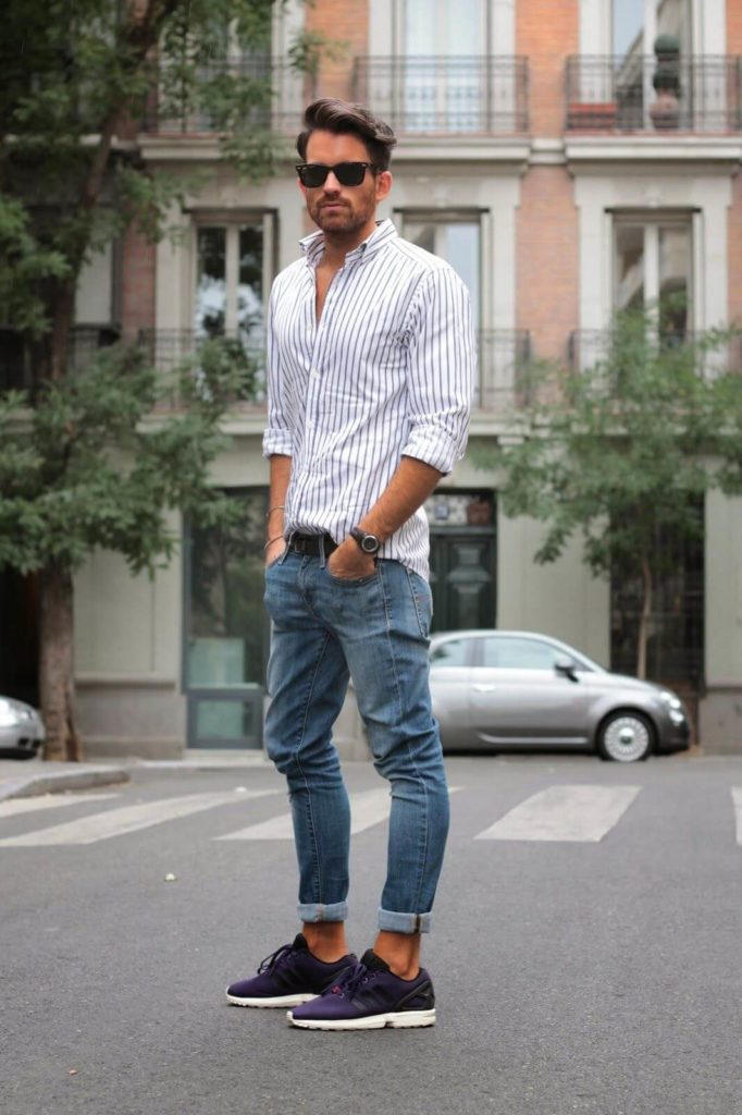 vertical black line white shirt men photoshoot poses white shirt combination