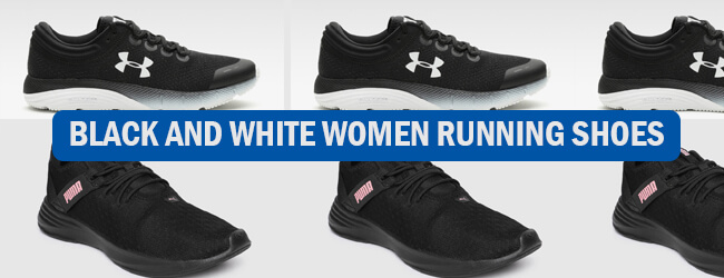 black and white women running shoes
