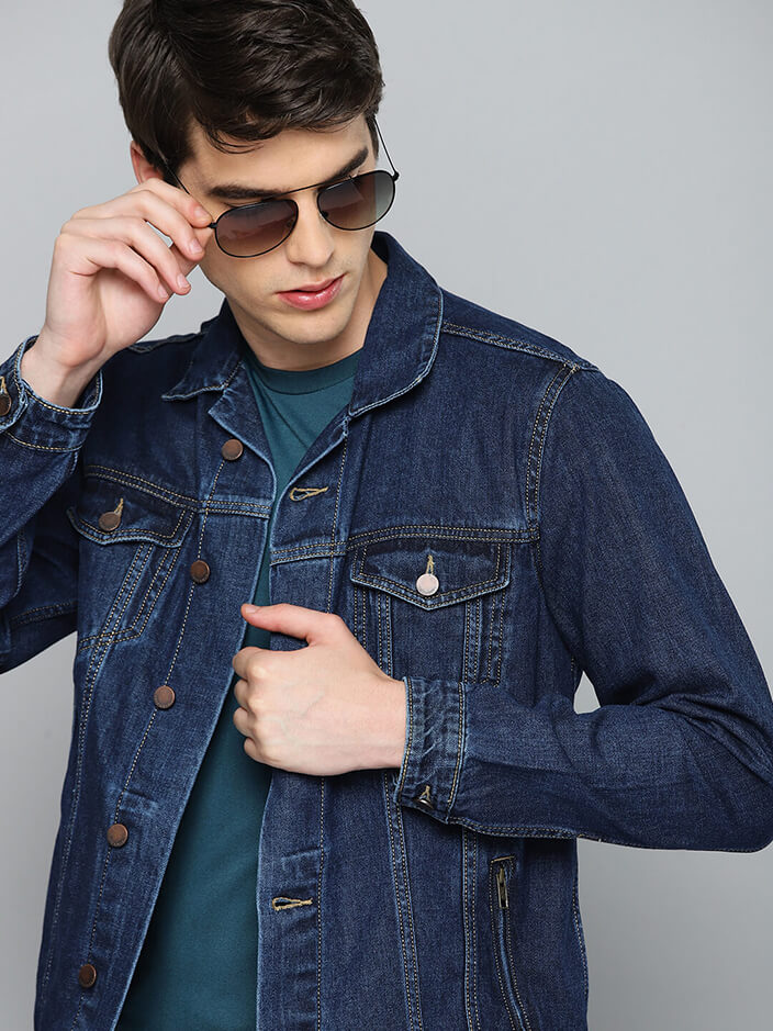 REGULAR BLUE DENIM JACKET FOR MEN
