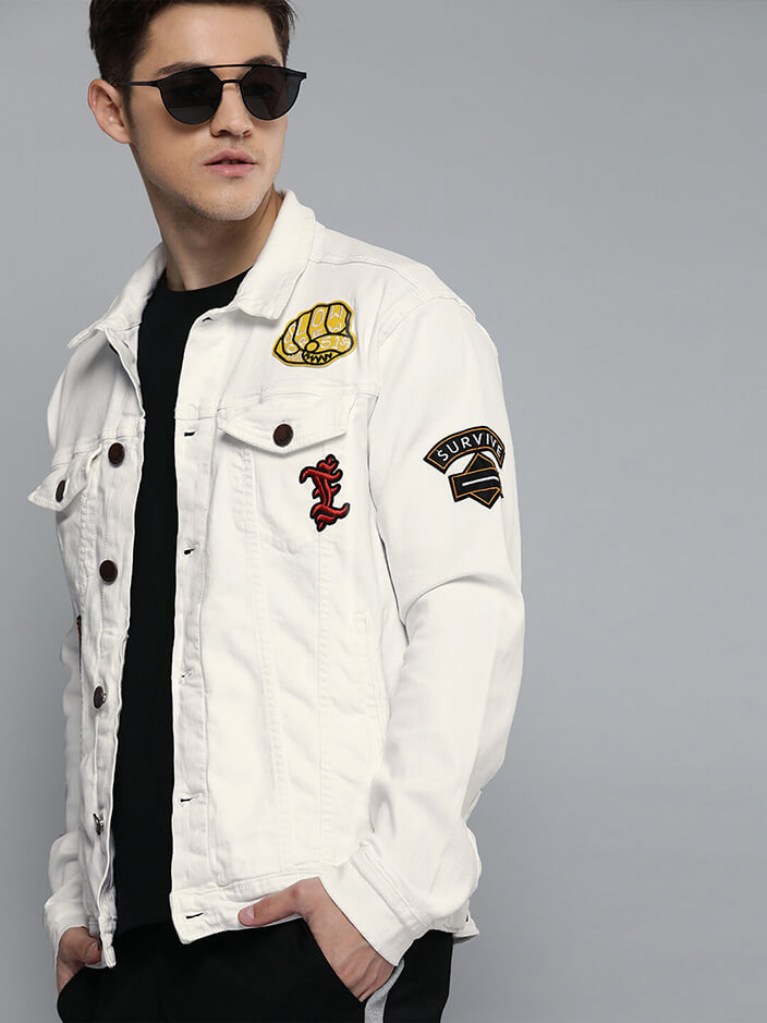 WHITE DENIM JACKET FOR MEN