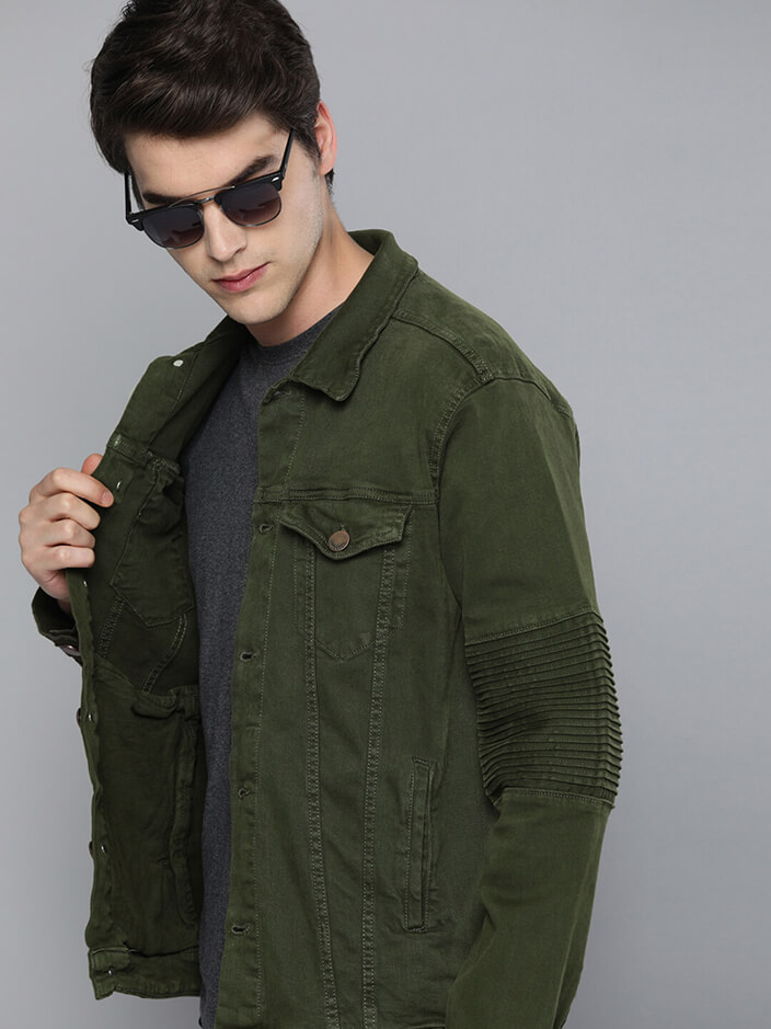 MILITARY GREEN STYLISH DENIM JACKET
