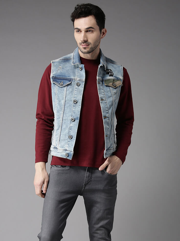 SLEEVELESS DENIM JACKETS FOR MEN