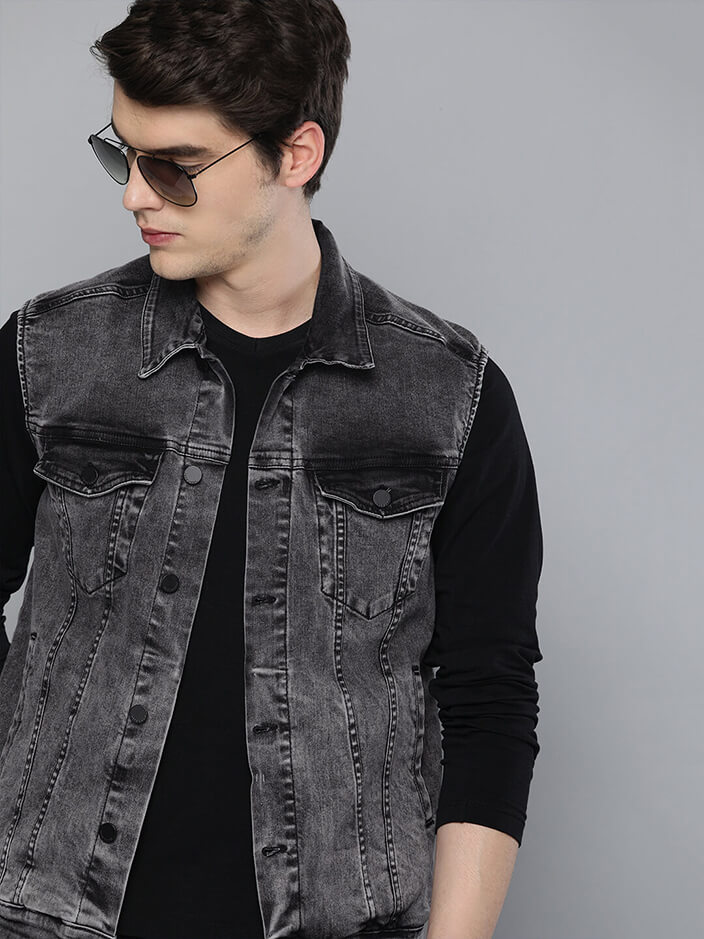 BLACK DENIM JACKET FOR MEN