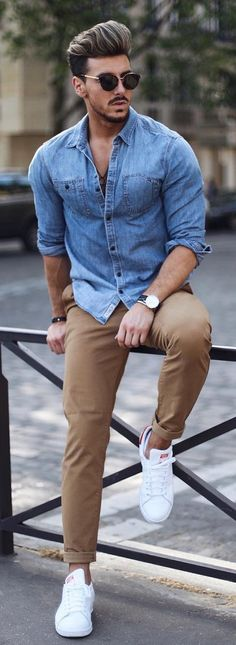 BLUE DENIM SHIRT WITH KHAKI JEANS COMBINATION