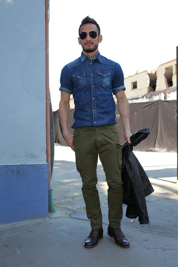 BLUE DENIM SHIRT WITH GREEN CARGO JEANS COMBINATION