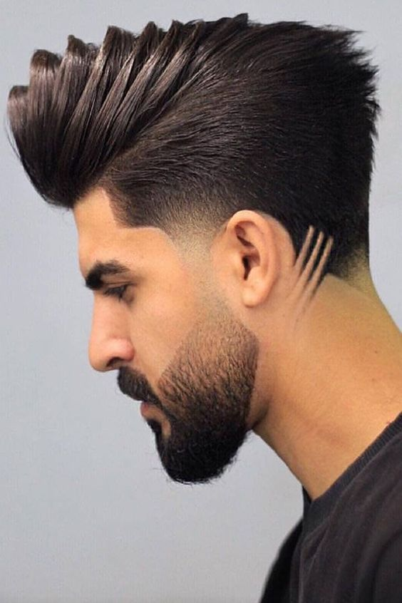 POMPADOUR FADE WITH LINE 2020 | gents haircut style 2020 | latest hairstyle for men 2020 |
