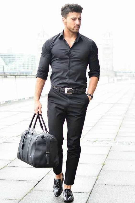 Black Shirt Combination Pants | What to Wear with black shirt | Black Shirt With Black Trouser Pants Combination
