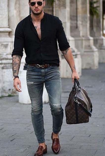 Black Shirt Combination Pants | Black Shirt With Denim Jeans Combination