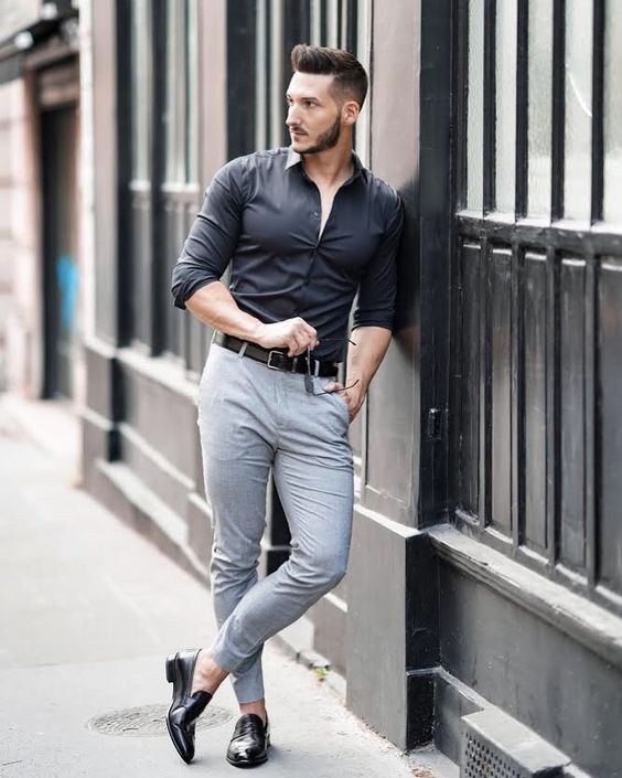 Black Shirt Combination Pants | Black Shirt Combination Men | Black Shirt With Grey Narrow Pants Combination